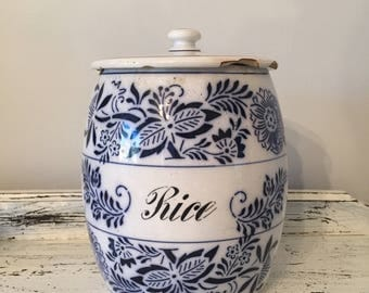 Vintage German Rice Canister White Delft Blue Pottery Ceramic Floral