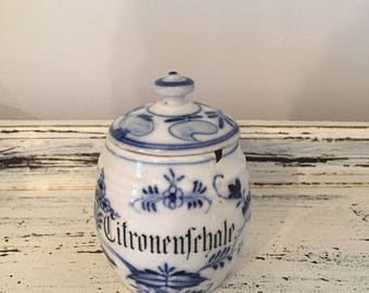 Antique German Canister Blue White Delft Small Ceramic Container