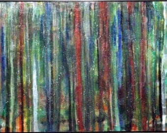 "30"" x 40"" acrylic abstract painting, framed, ready to hang, drip painting, colorful, textured"