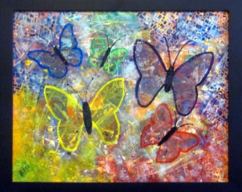 Five Butterflies, abstract painting, colorful wall art, framed artwork, ready to hang