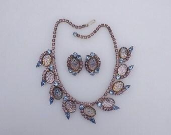 Vintage JULIANA For HOBE AB Molded Art Glass & Rhinestones Necklace Earring Set