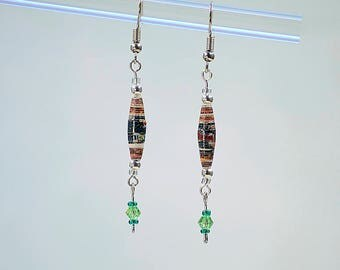 Red green Dangle Earrings #511