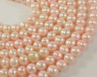 8.5-10 mm Large Hole Potato Freshwater Pearl Beads in Baby Pink OR Brown Color, 2 mm Hole, Genuine Cultured Pearl Bead (324-LHPMIX09)