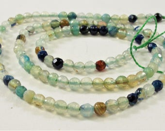 3 mm Faceted Round Light Blue/Green Agate Gemstone Beads, Natural Gemstone Beads, Round Faceted Light Blue/Green Agate Beads (508-LTBLAF03)