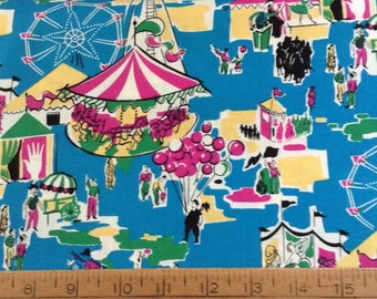 Carnival scene cotton fabric by the yard