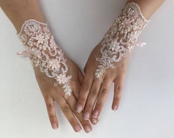 EXPRESS SHIPPING Wedding gloves beaded pearls Pink bridal gloves lace gloves fingerless gloves french lace gloves