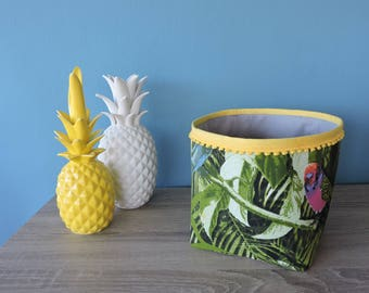 yellow tropical fabric storage basket