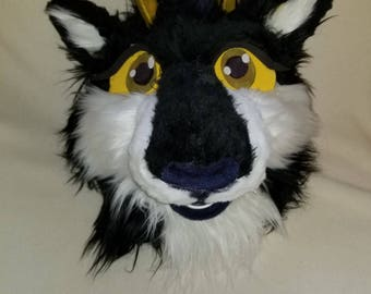Black and White goat fursuit head.