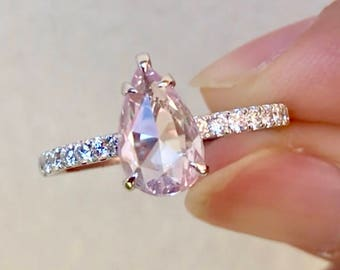Natural Unheated Rose Cut Pink Ceylon Sapphire and Diamonds Ring