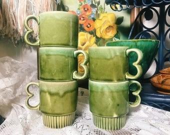 Dripware Ceramic Mugs, Made in Japan, Green Stackable Mugs, Trigger Handle Mugs