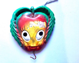 Vintage Chalkware Apple Face Hook, Wall Hanging with Hook