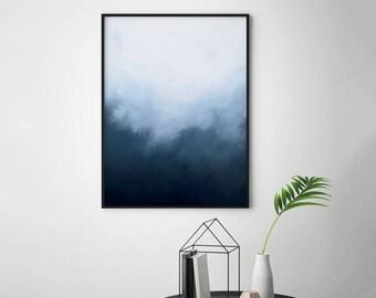 Indigo Watercolor Printable Wall Art, Abstract Indigo Print, Abstract Art, Printable Watercolor Indigo Art, Abstract Printable Blue Wall Art