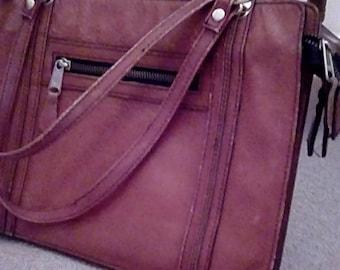 Vintage Retro Mid Century Genuine Brown Leather Korea shoulder Hand Bag Purse