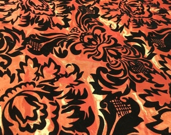 8 Yards Red Taffeta & Flocked Velvet Fabric Remnant | Damask Design