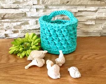 Green Storage Basket Crochet