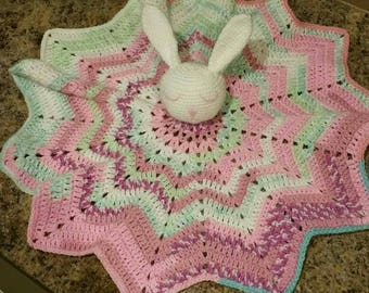 Rabbit lovey on large 12 point star blanket