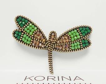 Dragonfly Brooch - Green Brooch - Zipper Brooch - Zipper Jewelry - Glass Bead Jewelry