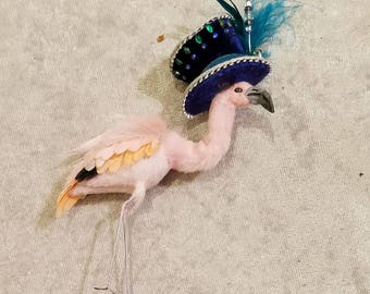 Miniature flamingo with navy velvet mad hatter hat, 1:12 scale