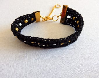 Black Crocheted Bracelet with golden and silver beads