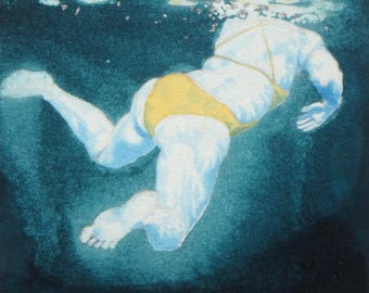 Original Art - Mini Swimmer no.17 - Painting in gouache, watercolour, palladium leaf. Open water swimmer, diver. Artwork by Nancy Farmer