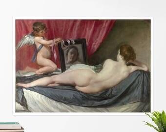 "Diego Velasquez, ""The Toilet of Venus"". Art poster, art print, rolled canvas, art canvas, wall art, wall decor"