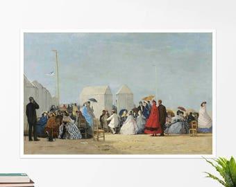 """Eugene Boudin, """"Beach near Trouville"""". Art poster, art print, rolled canvas, art canvas, wall art, wall decor"""
