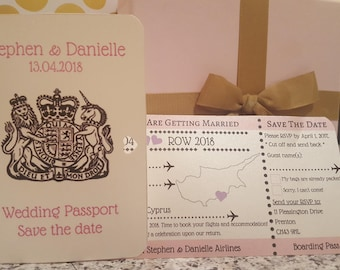 Boarding Pass Wedding Invitation with RSVP, destination wedding and passport cover