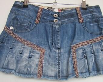 Boho Style Denim Skirt, Upcycled Denim Skirt, Summer Denim Skirt, UK Size 10, US Size 6