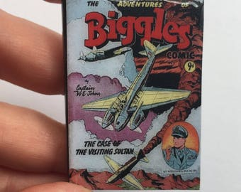Miniature Book Brooch, Bookmark or magnet, Vintage book, Biggles Comic
