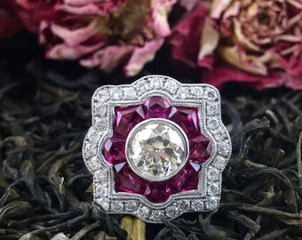 Old European Cut Diamond and Ruby  Estate Engagement Ring  White Gold Antique Vintage Art Deco Style
