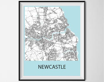 Newcastle Map Poster Print - Black and White