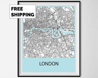 London Map Poster Print - Black and White