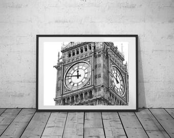 Big Ben Photo, London Photography, Digital Print, Black-White Photo, Wall Art, Printable Poster, Digital Download, 3 JPG's
