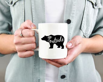 Adventure coffee mug, go outside, bear, outdoors, mountains coffee mug, camping mug, mountain mug, adventure mug, hiker mug.