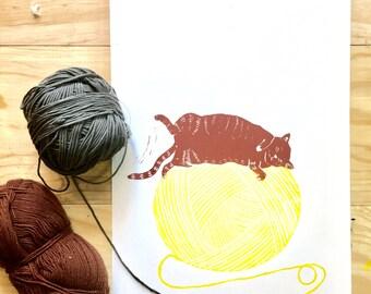 Linocut Handprinted A4 Print -  Ball of Fur on a ball wool - yellow, burnt sienna - Wall Art - Wall Decor