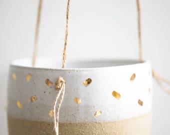 Gold Stroke Hanging Planter - Hanging planter - Succulent Pot - Ceramic pot - Handmade beads