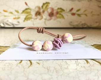Beaded Clay Bracelet (purple )