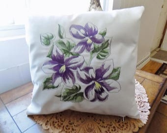 Violets Sketch Toss Pillow Cover