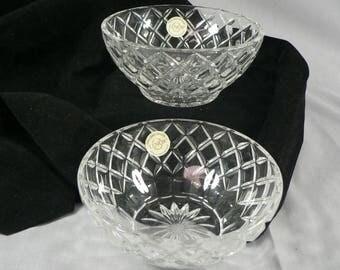 Lenox Crystal Bowls Diamond Pattern 2 pc set   01517g1529a