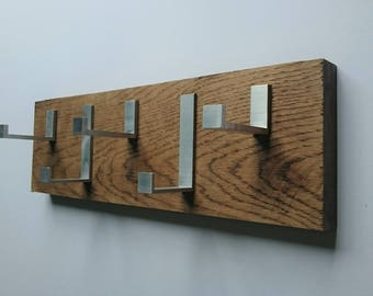 Rustic Modern Oak Coat Hooks     Made to measure     Solid Raw Oak and Aluminium     Modern     Contemporary     Floating