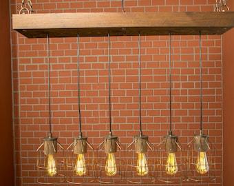 Cage Light, Wood Lİght, Farmhouse Lighting, Pendant Lighting, Rustic Lighting, Chandelier Lighting, Ceiling Light, Wood Fixture, Lighting