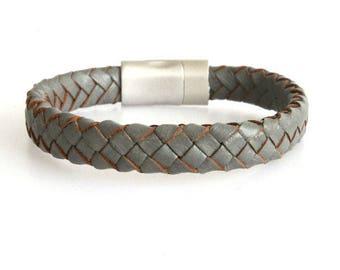 Leather men's bracelet braided