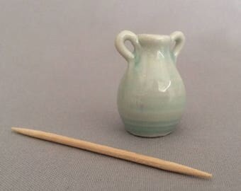 Miniature Pottery Green Urn with Handles