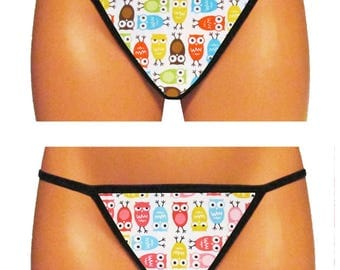 Colorful Owls Thong/G-String