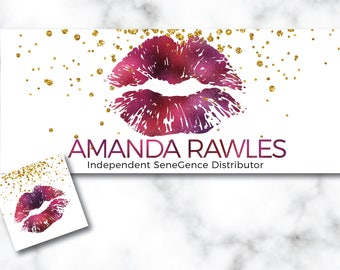 LipSense FB Cover,Purple Glitter, Banner, Social Media Cover , Lip Banner