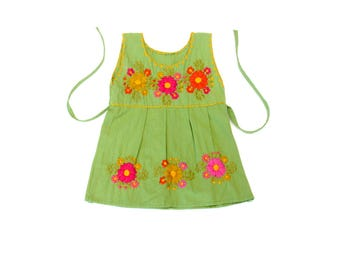green mexican baby dress  /  flower embroidery