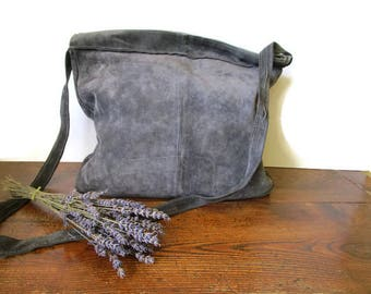 Messenger Bag, Suede Crossbody Bag, Gray Suede Bag, Leather Crossbody, Everyday Bag, Zippered Crossbody, Boho Bag, Hippie Bag, Festival Bag