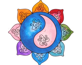 Mandala Yin Yang suncatcher yoga decoration room altar meditation hanging resin art artwork