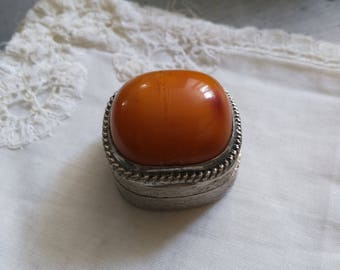 925 sterling silver pill box and vintage orange Jasper. Vintage orange pill box. Trinket Box