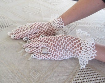 White crochet gloves handmade beautiful lace wedding gloves